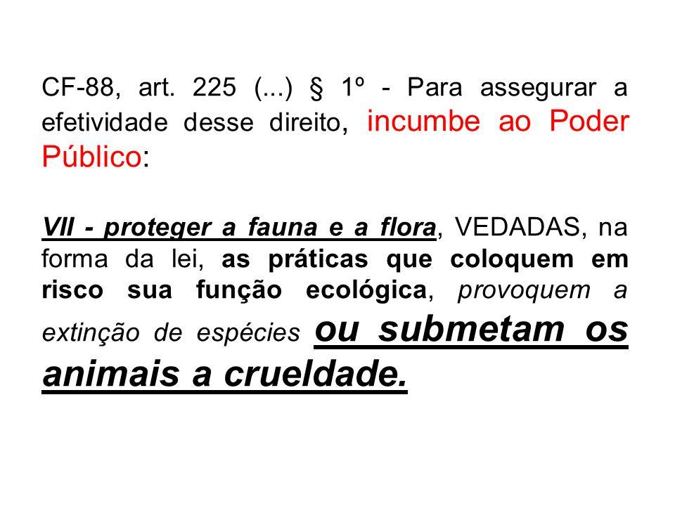 CF-88, art. 225 (...) § 1º - Para assegurar a efetividade desse direito, incumbe ao Poder Público: VII - proteger a fauna e a flora, VEDADAS, na forma
