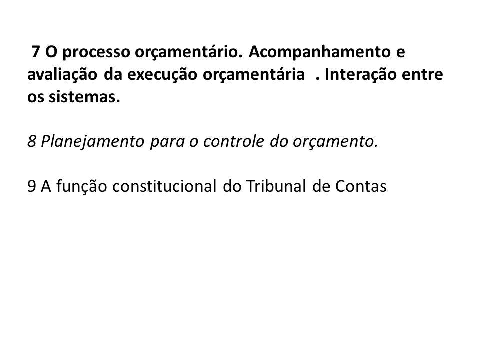 7 O processo orçamentário. Acompanhamento e avaliação da execução orçamentária. Interação entre os sistemas. 8 Planejamento para o controle do orçamen