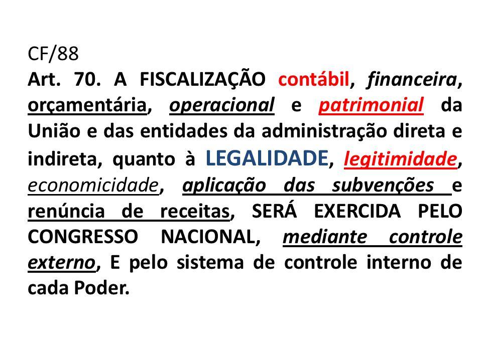 CF/88 Art. 70. A FISCALIZAÇÃO contábil, financeira, orçamentária, operacional e patrimonial da União e das entidades da administração direta e indiret