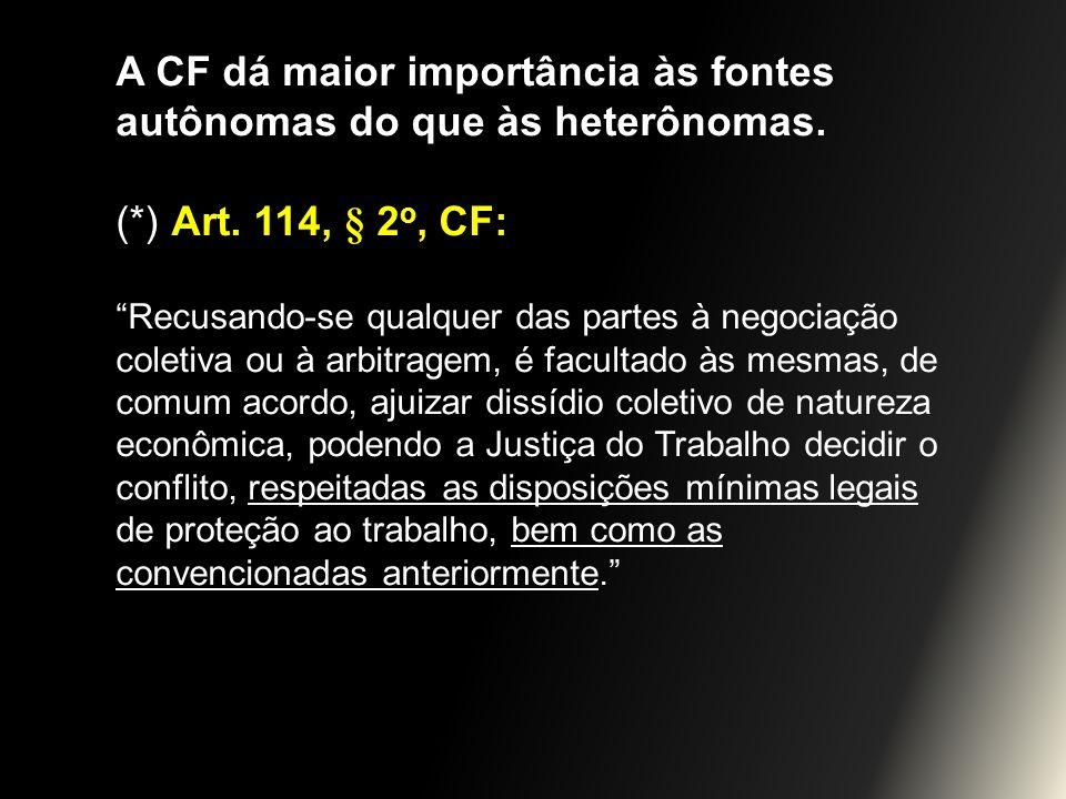 A CF dá maior importância às fontes autônomas do que às heterônomas. (*) Art. 114, § 2 o, CF: Recusando-se qualquer das partes à negociação coletiva o