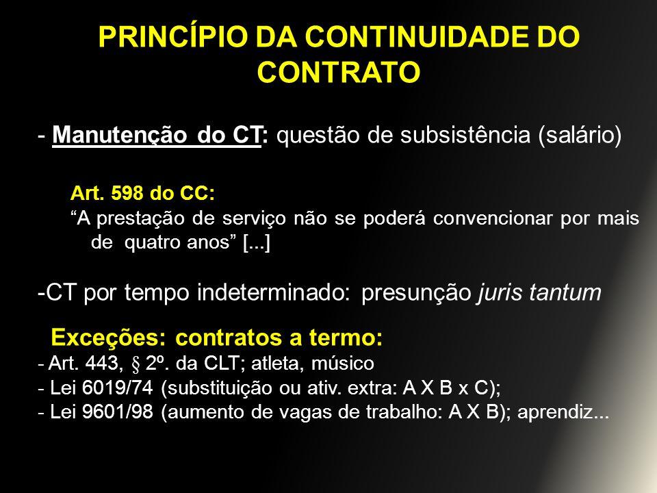 PRINCÍPIO DA CONTINUIDADE DO CONTRATO - Manutenção do CT: questão de subsistência (salário) Art. 598 do CC: A prestação de serviço não se poderá conve