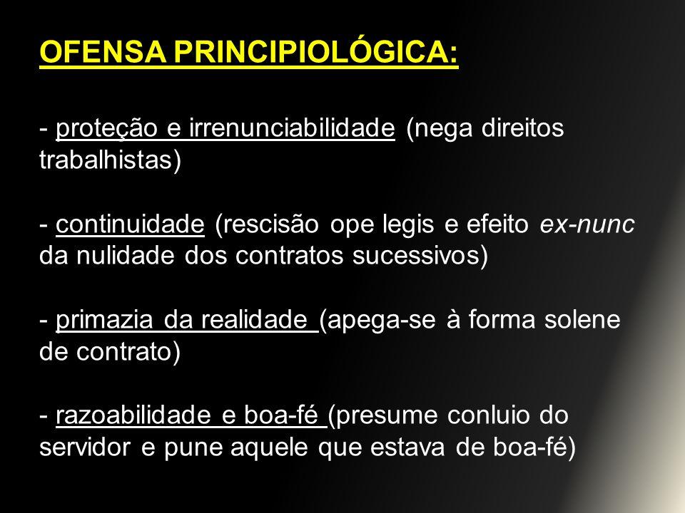 OFENSA PRINCIPIOLÓGICA: - proteção e irrenunciabilidade (nega direitos trabalhistas) - continuidade (rescisão ope legis e efeito ex-nunc da nulidade d
