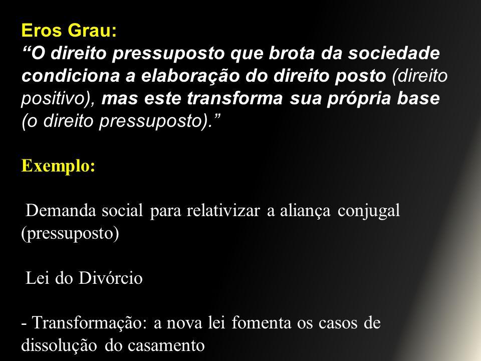 Eros Grau: O direito pressuposto que brota da sociedade condiciona a elaboração do direito posto (direito positivo), mas este transforma sua própria b