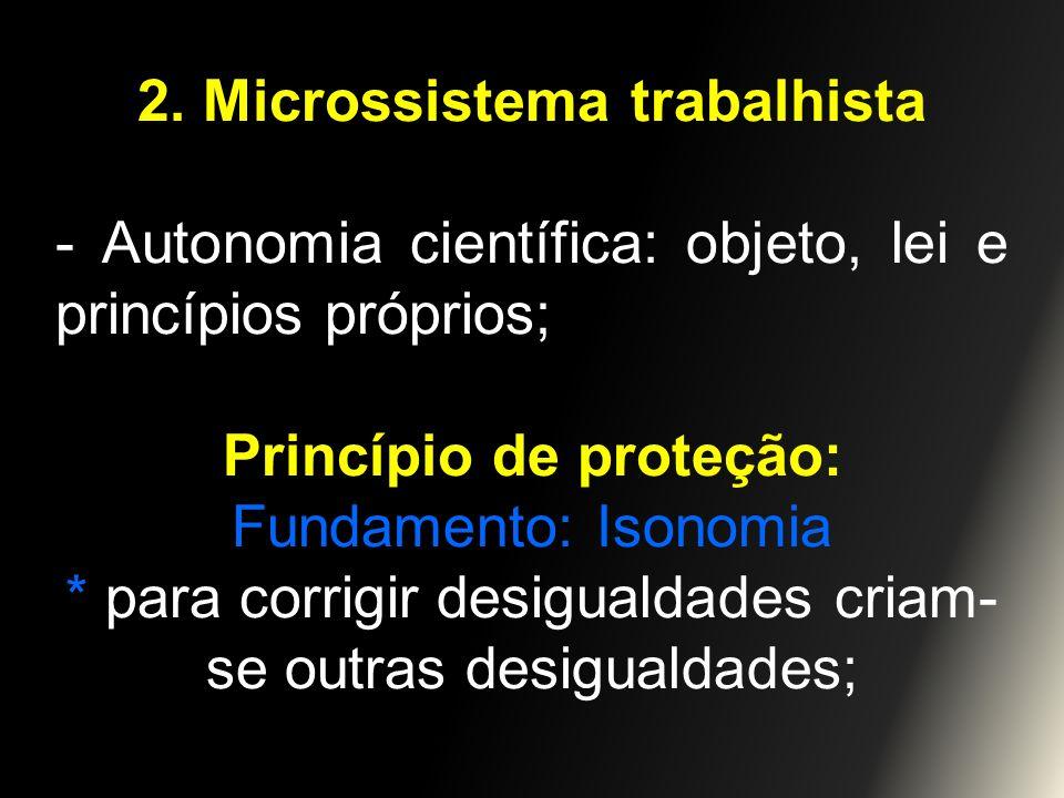 2. Microssistema trabalhista - Autonomia científica: objeto, lei e princípios próprios; Princípio de proteção: Fundamento: Isonomia * para corrigir de