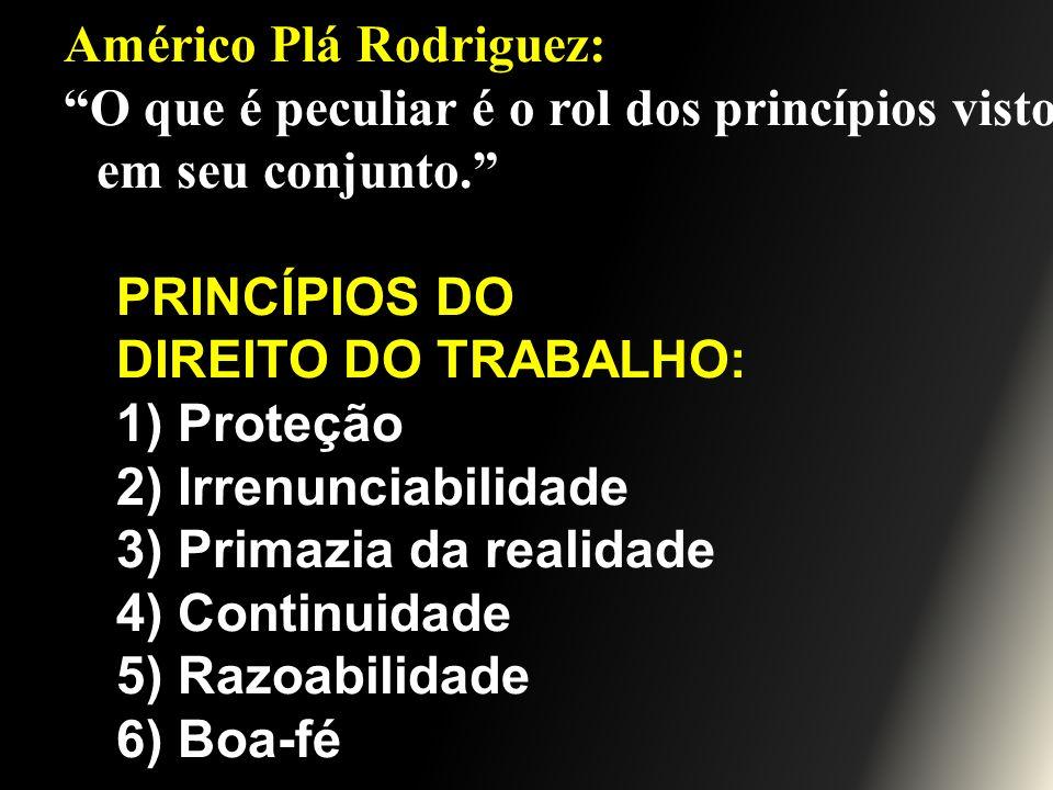 Américo Plá Rodriguez: O que é peculiar é o rol dos princípios visto em seu conjunto. PRINCÍPIOS DO DIREITO DO TRABALHO: 1) Proteção 2) Irrenunciabili