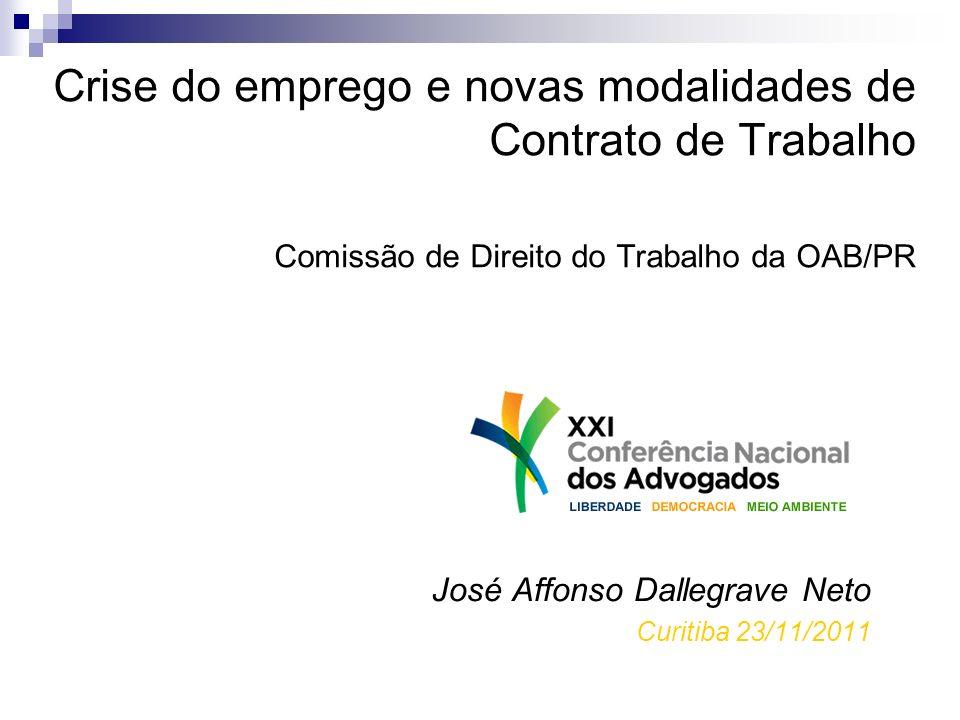 Crise do emprego e novas modalidades de Contrato de Trabalho Comissão de Direito do Trabalho da OAB/PR José Affonso Dallegrave Neto Curitiba 23/11/201