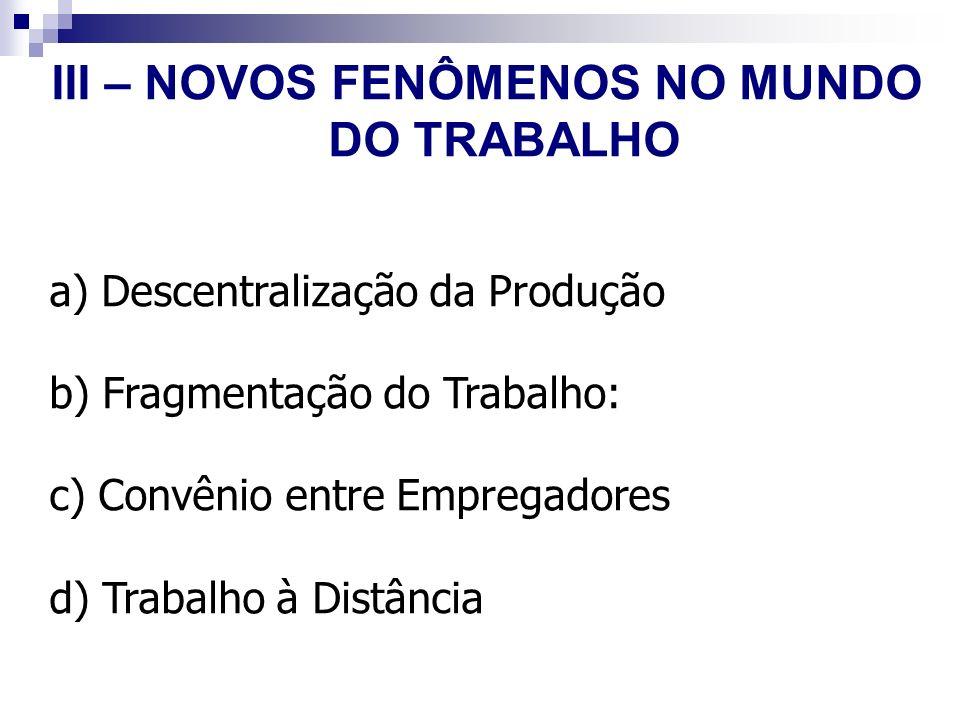 III – NOVOS FENÔMENOS NO MUNDO DO TRABALHO a) Descentralização da Produção b) Fragmentação do Trabalho: c) Convênio entre Empregadores d) Trabalho à D