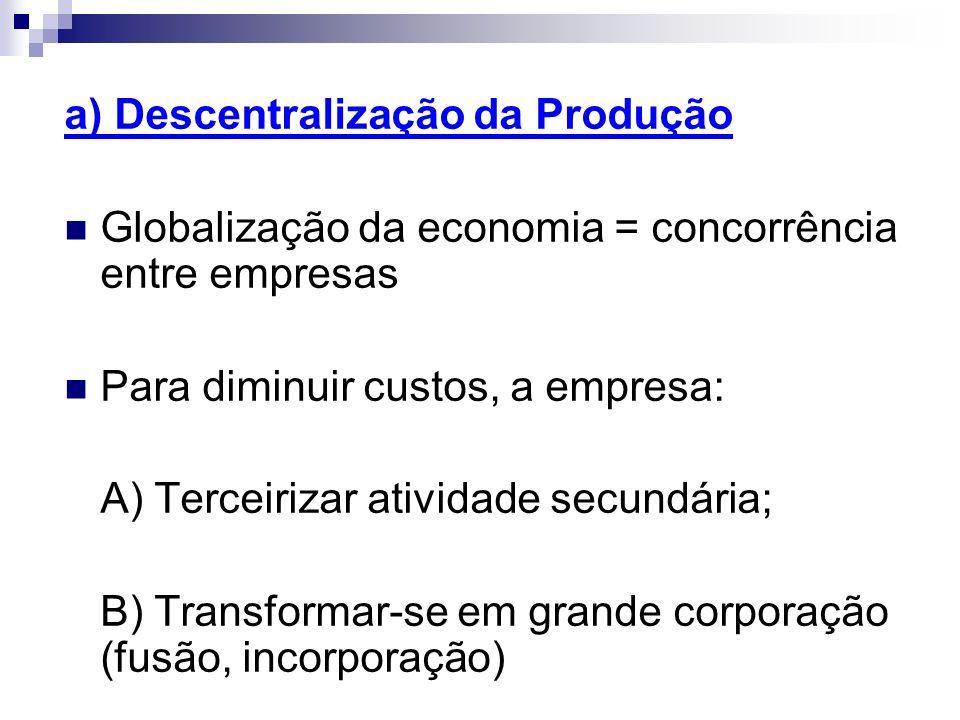 a) Descentralização da Produção Globalização da economia = concorrência entre empresas Para diminuir custos, a empresa: A) Terceirizar atividade secun