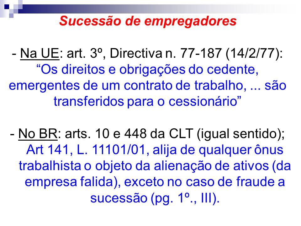 Sucessão de empregadores - Na UE: art. 3º, Directiva n. 77-187 (14/2/77): Os direitos e obrigações do cedente, emergentes de um contrato de trabalho,.