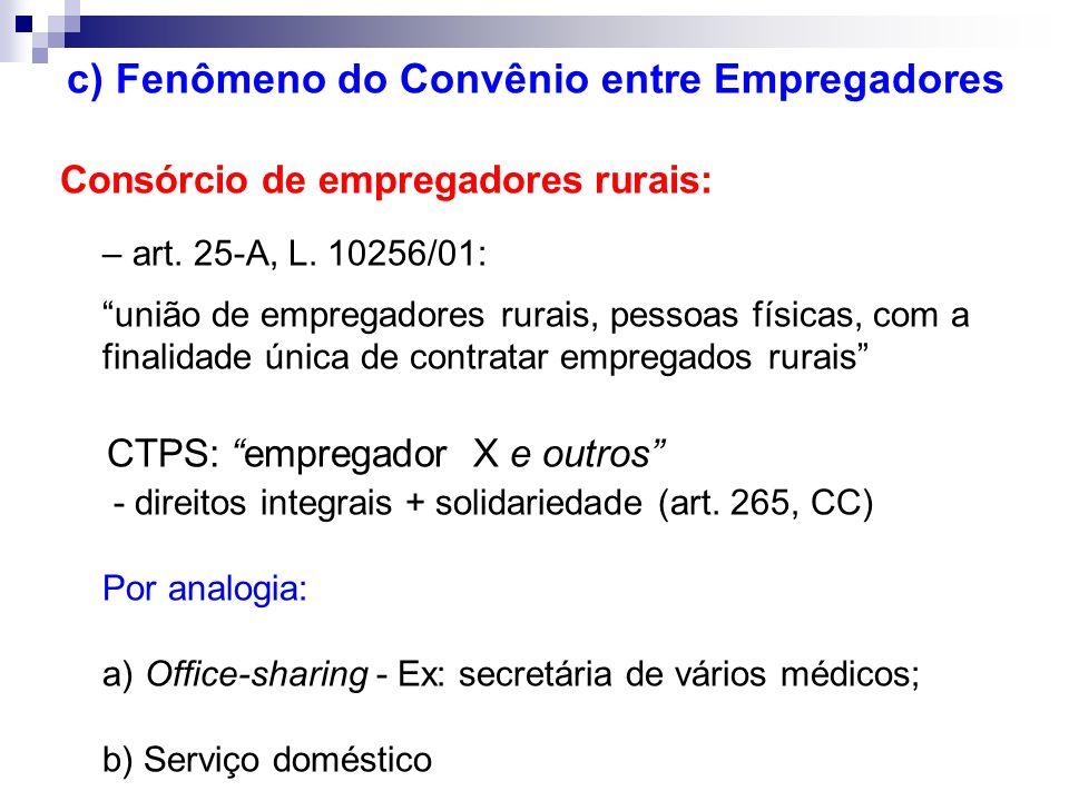 c) Fenômeno do Convênio entre Empregadores Consórcio de empregadores rurais: – art. 25-A, L. 10256/01: união de empregadores rurais, pessoas físicas,