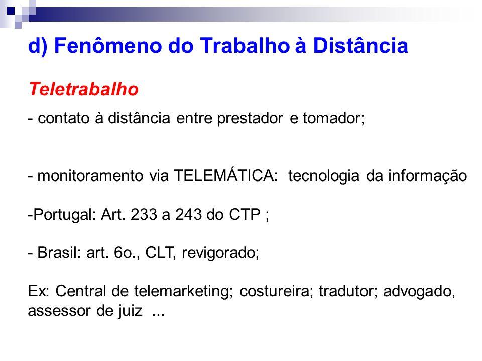 d) Fenômeno do Trabalho à Distância Teletrabalho - contato à distância entre prestador e tomador; - monitoramento via TELEMÁTICA: tecnologia da inform
