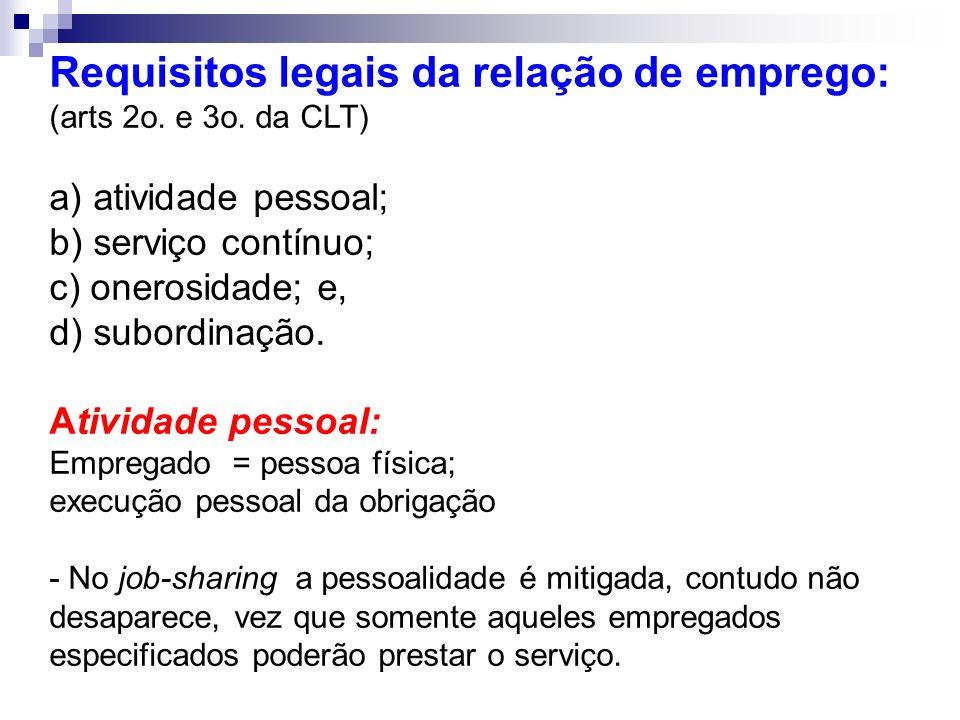 Requisitos legais da relação de emprego: (arts 2o. e 3o. da CLT) a) atividade pessoal; b) serviço contínuo; c) onerosidade; e, d) subordinação. Ativid