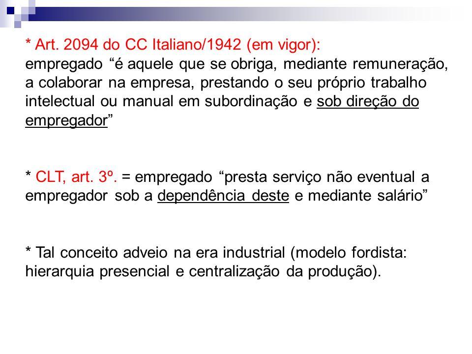 * Art. 2094 do CC Italiano/1942 (em vigor): empregado é aquele que se obriga, mediante remuneração, a colaborar na empresa, prestando o seu próprio tr