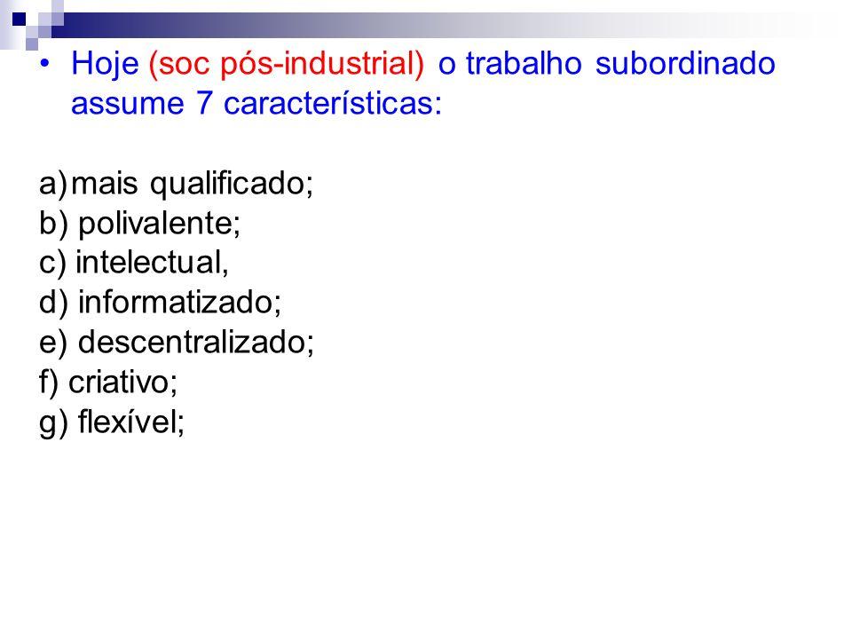 Hoje (soc pós-industrial) o trabalho subordinado assume 7 características: a)mais qualificado; b) polivalente; c) intelectual, d) informatizado; e) de