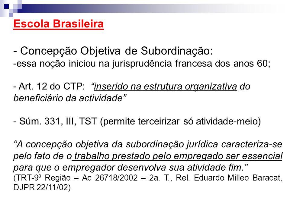 Escola Brasileira - Concepção Objetiva de Subordinação: -essa noção iniciou na jurisprudência francesa dos anos 60; - Art. 12 do CTP: inserido na estr