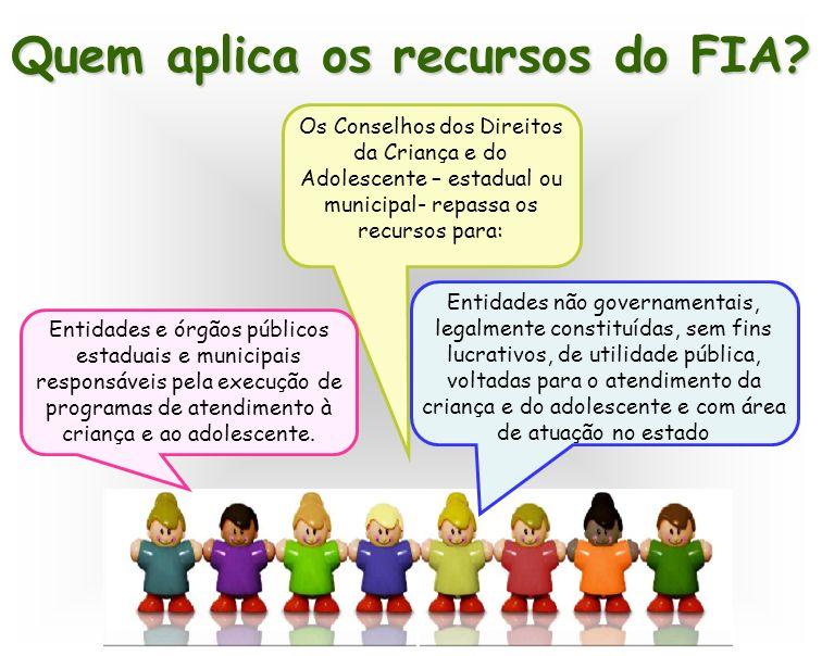 Quem aplica os recursos do FIA? Os Conselhos dos Direitos da Criança e do Adolescente – estadual ou municipal- repassa os recursos para: Entidades e ó