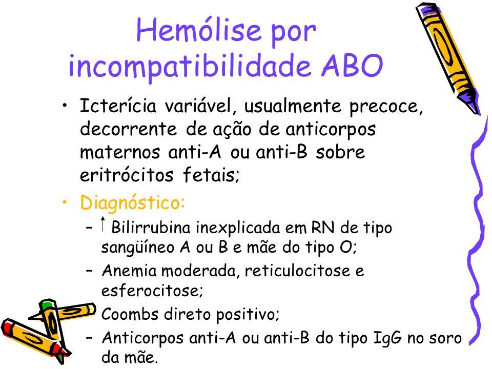 Hemólise por incompatibilidade ABO Icterícia variável, usualmente precoce, decorrente de ação de anticorpos maternos anti-A ou anti-B sobre eritrócito