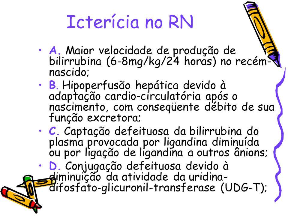 Icterícia no RN A. Maior velocidade de produção de bilirrubina (6-8mg/kg/24 horas) no recém- nascido; B. Hipoperfusão hepática devido à adaptação card