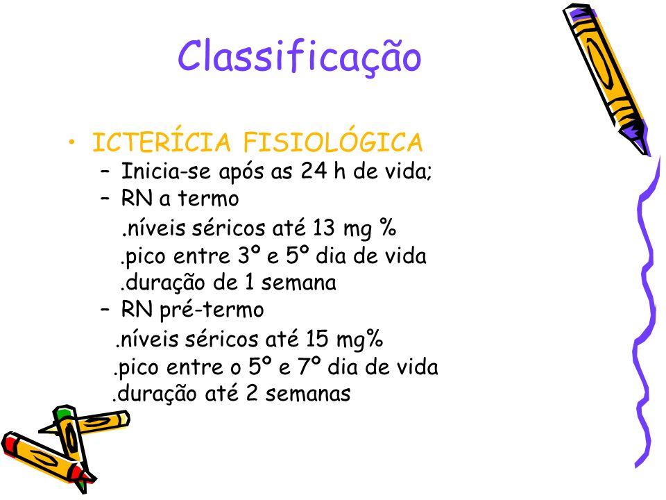 Classificação ICTERÍCIA FISIOLÓGICA –Inicia-se após as 24 h de vida; –RN a termo. níveis séricos até 13 mg %.pico entre 3º e 5º dia de vida.duração de