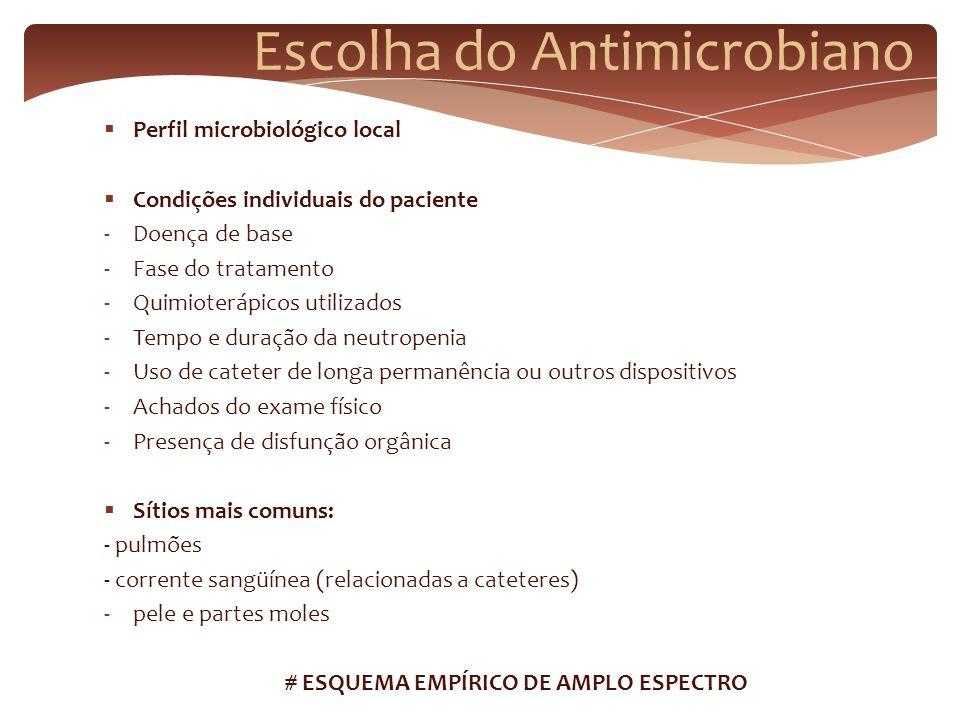 Escolha do Antimicrobiano Perfil microbiológico local Condições individuais do paciente -Doença de base -Fase do tratamento -Quimioterápicos utilizado