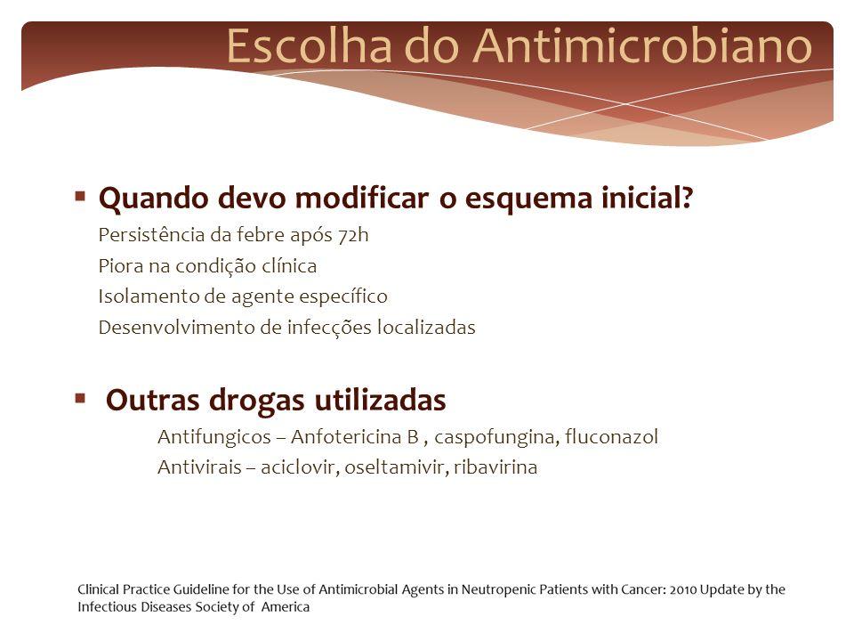 Escolha do Antimicrobiano Quando devo modificar o esquema inicial? Persistência da febre após 72h Piora na condição clínica Isolamento de agente espec