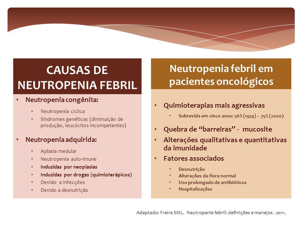 Neutropenia congênita: Neutropenia cíclica Síndromes genéticas (diminuição de produção, leucócitos incompetentes) Neutropenia adquirida: Aplasia medul