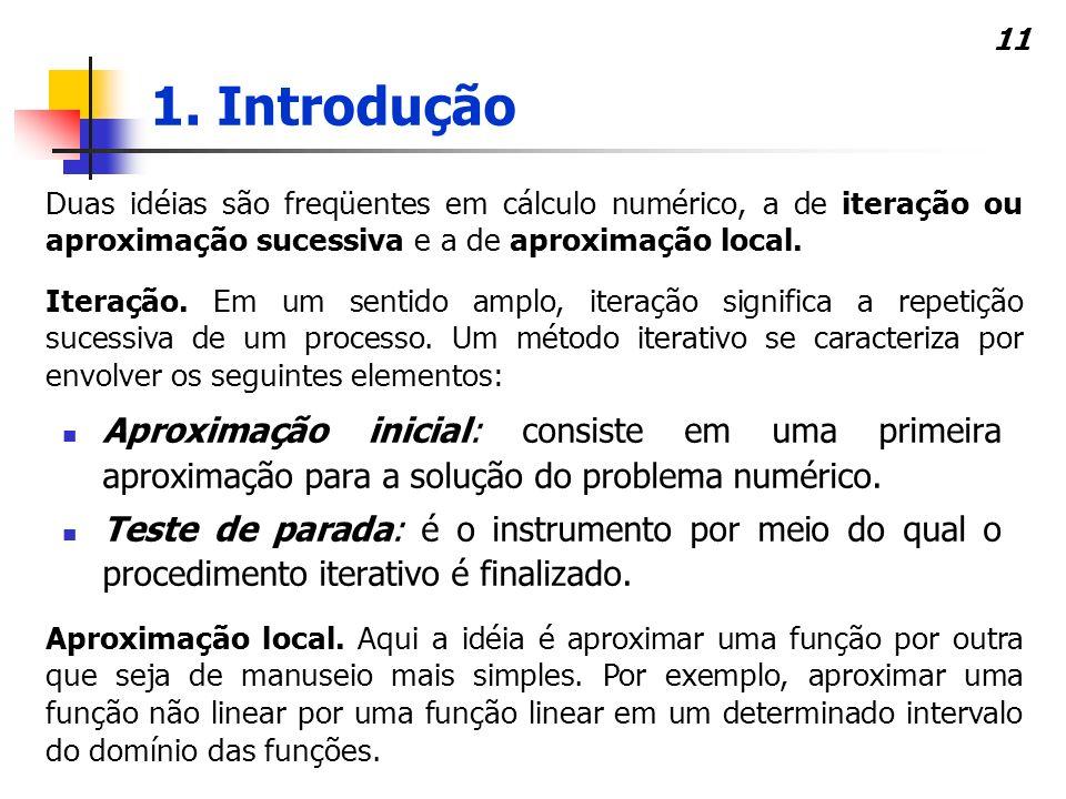 11 Aproximação inicial: consiste em uma primeira aproximação para a solução do problema numérico. Teste de parada: é o instrumento por meio do qual o