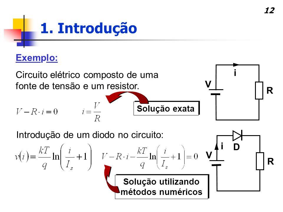 12 Exemplo: Circuito elétrico composto de uma fonte de tensão e um resistor. Solução exata Introdução de um diodo no circuito: Solução utilizando méto