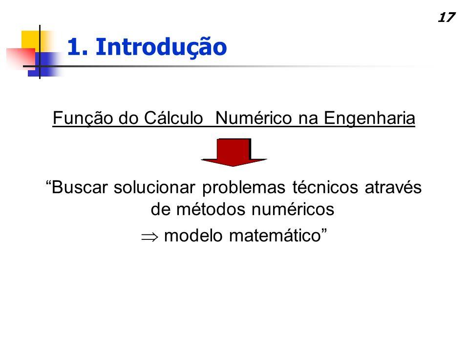 17 Função do Cálculo Numérico na Engenharia Buscar solucionar problemas técnicos através de métodos numéricos modelo matemático 1. Introdução