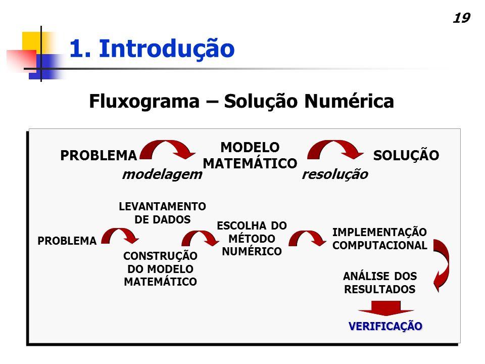 19 Fluxograma – Solução Numérica PROBLEMA MODELO MATEMÁTICO SOLUÇÃO modelagemresolução PROBLEMA ESCOLHA DO MÉTODO NUMÉRICO IMPLEMENTAÇÃO COMPUTACIONAL