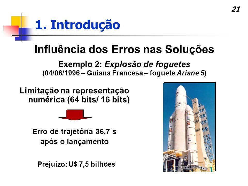 21 Influência dos Erros nas Soluções Exemplo 2: Explosão de foguetes (04/06/1996 – Guiana Francesa – foguete Ariane 5) Erro de trajetória 36,7 s após