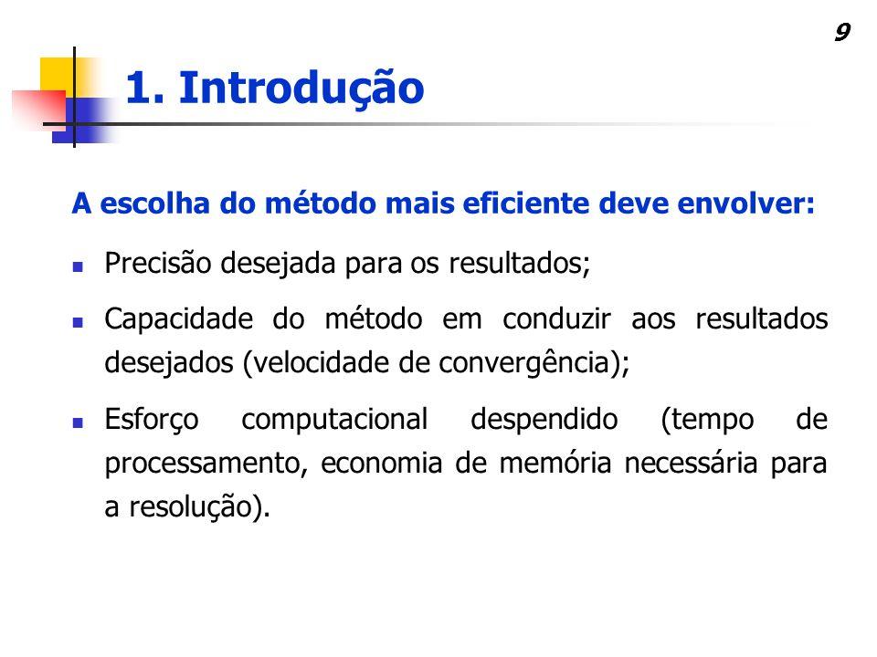 9 Precisão desejada para os resultados; Capacidade do método em conduzir aos resultados desejados (velocidade de convergência); Esforço computacional