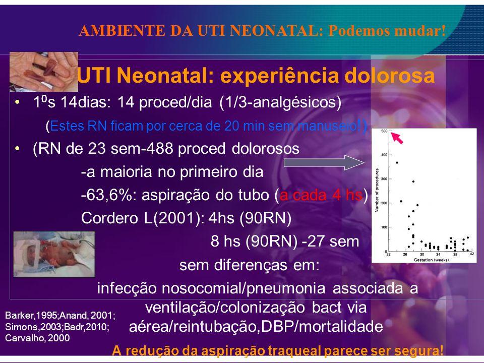 UTI Neonatal: experiência dolorosa 1 0 s 14dias: 14 proced/dia (1/3-analgésicos) (Estes RN ficam por cerca de 20 min sem manuseio !) (RN de 23 sem-488