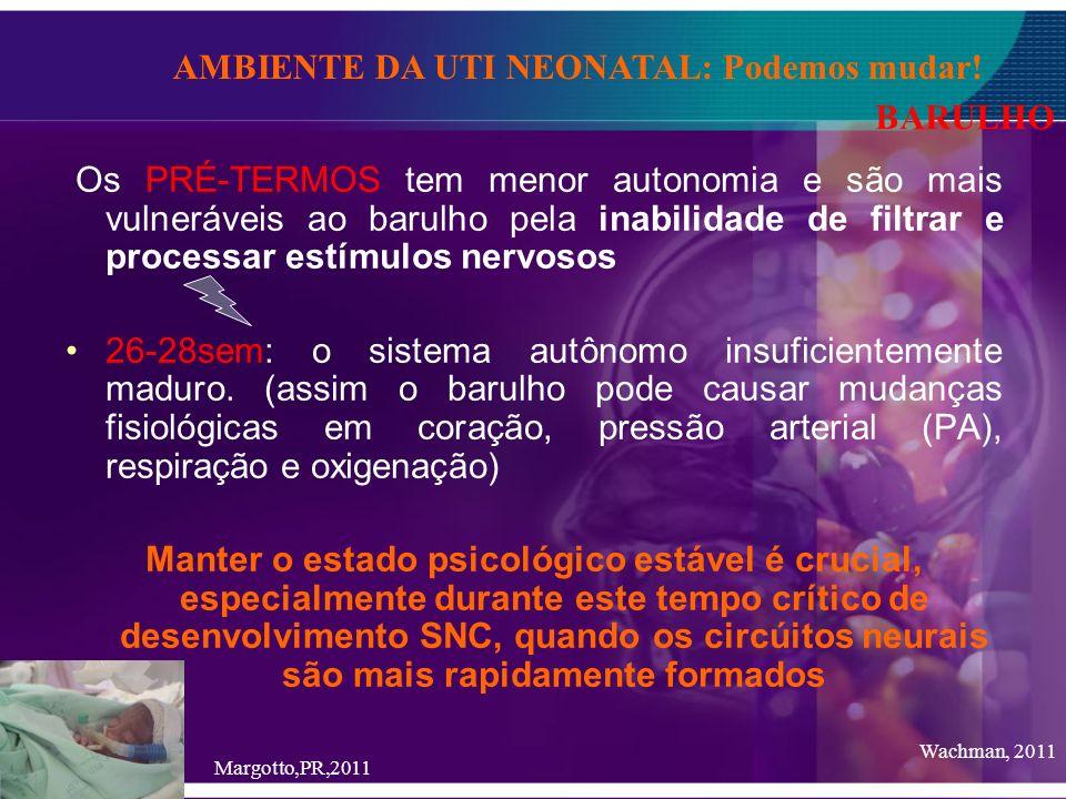 Os PRÉ-TERMOS tem menor autonomia e são mais vulneráveis ao barulho pela inabilidade de filtrar e processar estímulos nervosos 26-28sem: o sistema aut