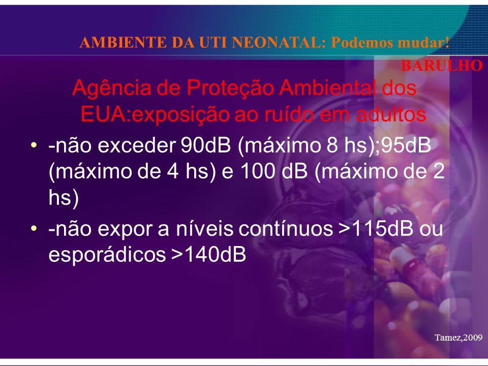 Agência de Proteção Ambiental dos EUA:exposição ao ruído em adultos -não exceder 90dB (máximo 8 hs);95dB (máximo de 4 hs) e 100 dB (máximo de 2 hs) -n