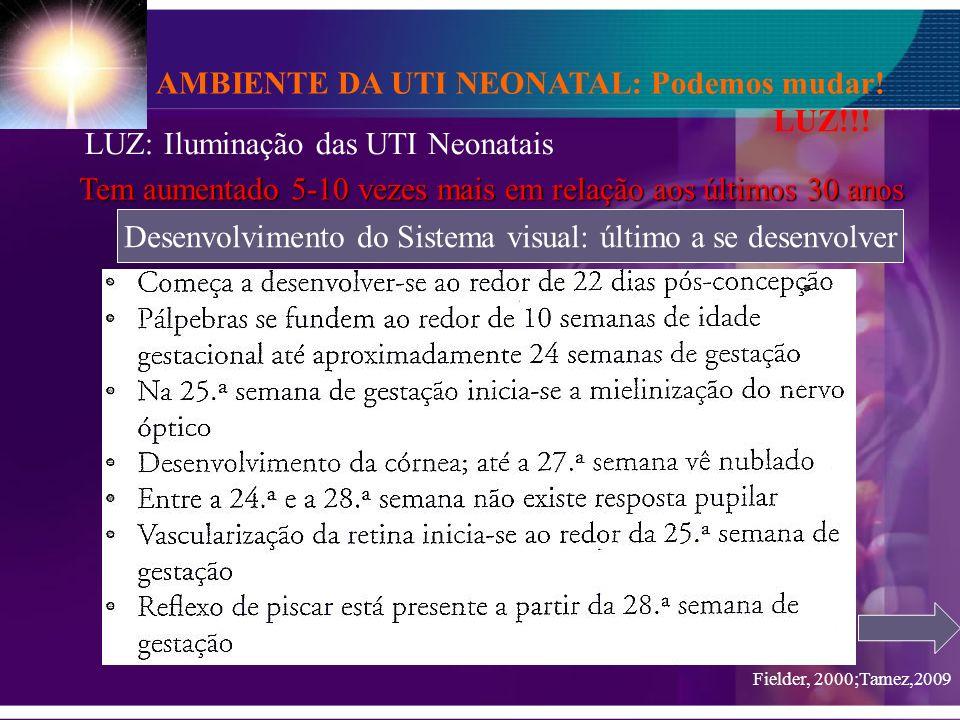 AMBIENTE DA UTI NEONATAL: Podemos mudar! LUZ!!! LUZ: Iluminação das UTI Neonatais Tem aumentado 5-10 vezes mais em relação aos últimos 30 anos Desenvo