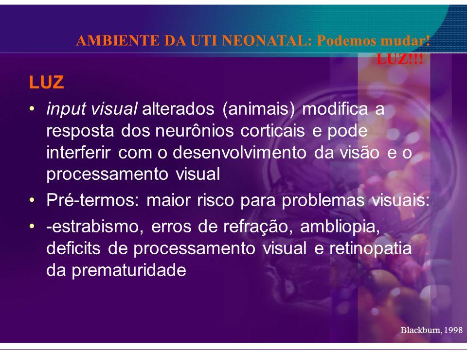 LUZ input visual alterados (animais) modifica a resposta dos neurônios corticais e pode interferir com o desenvolvimento da visão e o processamento vi