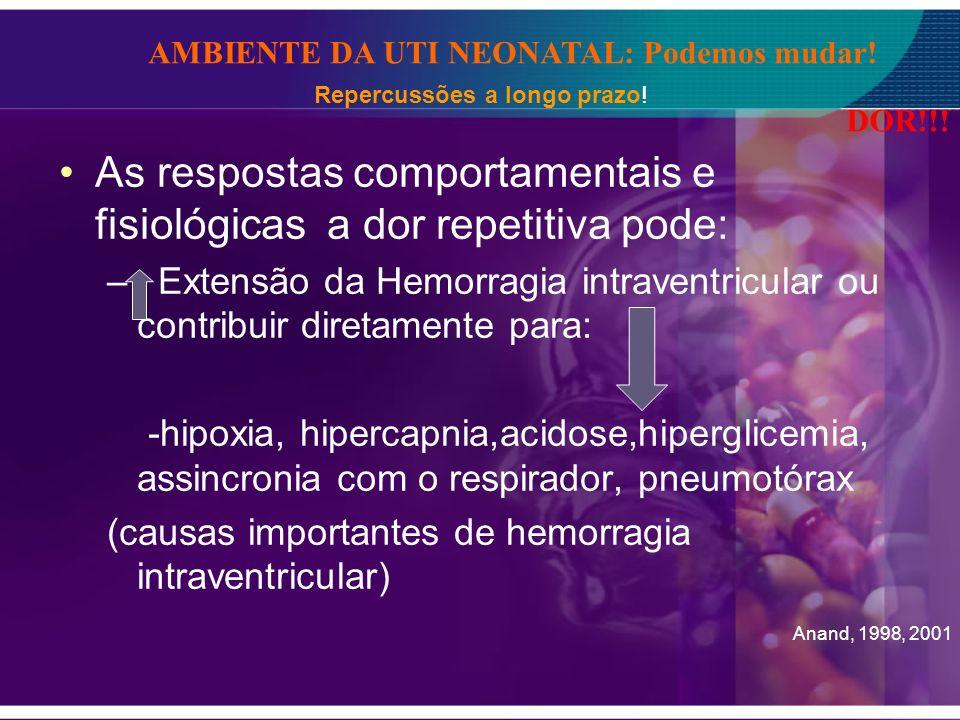 As respostas comportamentais e fisiológicas a dor repetitiva pode: – Extensão da Hemorragia intraventricular ou contribuir diretamente para: -hipoxia,
