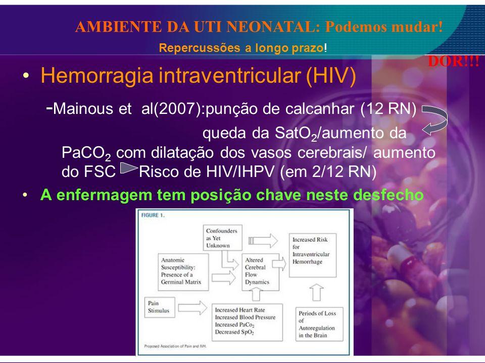 Hemorragia intraventricular (HIV) - Mainous et al(2007):punção de calcanhar (12 RN) queda da SatO 2 /aumento da PaCO 2 com dilatação dos vasos cerebra