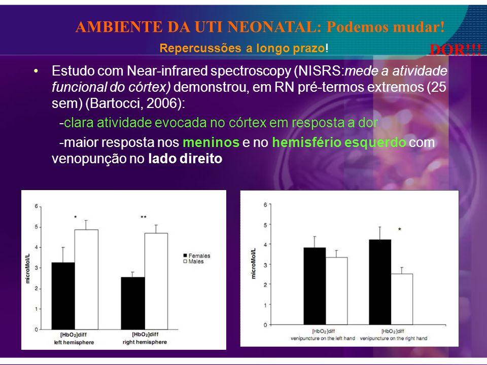 Estudo com Near-infrared spectroscopy (NISRS:mede a atividade funcional do córtex) demonstrou, em RN pré-termos extremos (25 sem) (Bartocci, 2006): -c