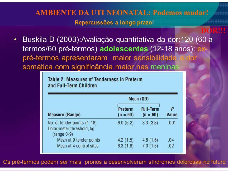 Buskila D (2003):Avaliação quantitativa da dor:120 (60 a termos/60 pré-termos) adolescentes (12-18 anos): ex- pré-termos apresentaram maior sensibilid