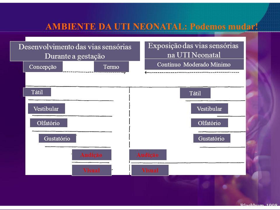 AMBIENTE DA UTI NEONATAL: Podemos mudar! Desenvolvimento das vias sensórias Durante a gestação Exposição das vias sensórias na UTI Neonatal Blackburn,