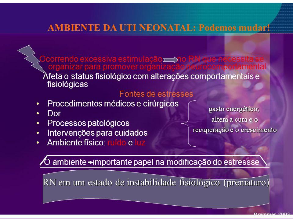 Ocorrendo excessiva estimulação no RN que necessita se organizar para promover organização neurocomportamental Afeta o status fisiológico com alteraçõ