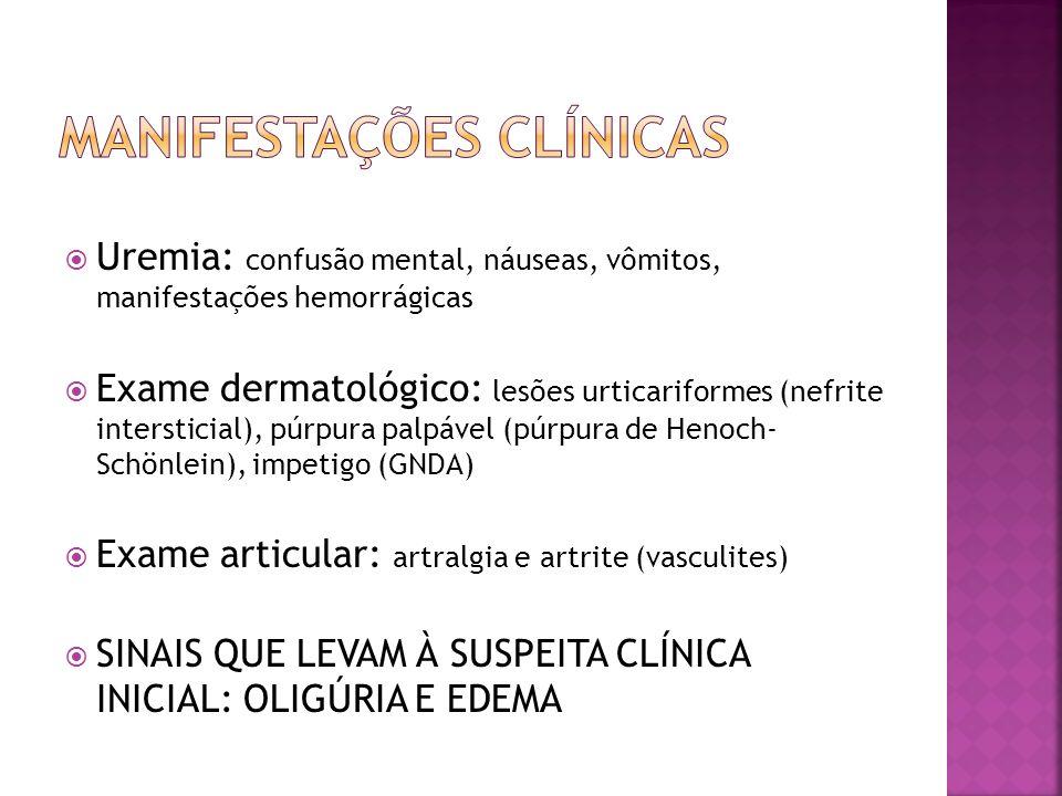 Uremia: confusão mental, náuseas, vômitos, manifestações hemorrágicas Exame dermatológico: lesões urticariformes (nefrite intersticial), púrpura palpá