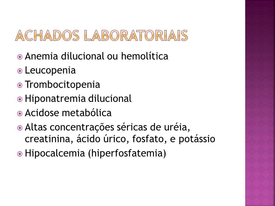 Anemia dilucional ou hemolítica Leucopenia Trombocitopenia Hiponatremia dilucional Acidose metabólica Altas concentrações séricas de uréia, creatinina