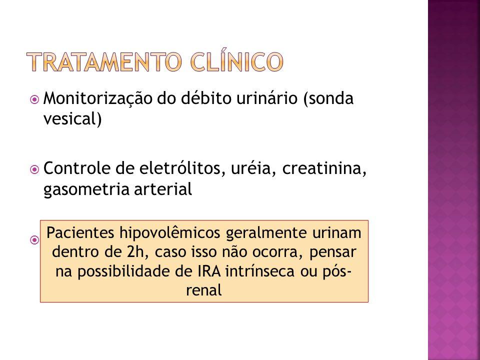 Monitorização do débito urinário (sonda vesical) Controle de eletrólitos, uréia, creatinina, gasometria arterial Se não houver sinais de hipervolemia