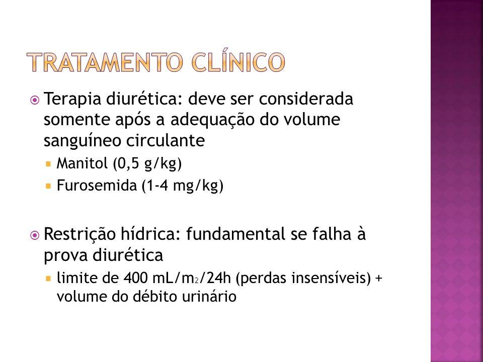 Terapia diurética: deve ser considerada somente após a adequação do volume sanguíneo circulante Manitol (0,5 g/kg) Furosemida (1-4 mg/kg) Restrição hí