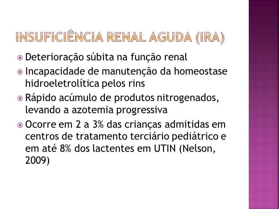 Deterioração súbita na função renal Incapacidade de manutenção da homeostase hidroeletrolítica pelos rins Rápido acúmulo de produtos nitrogenados, lev