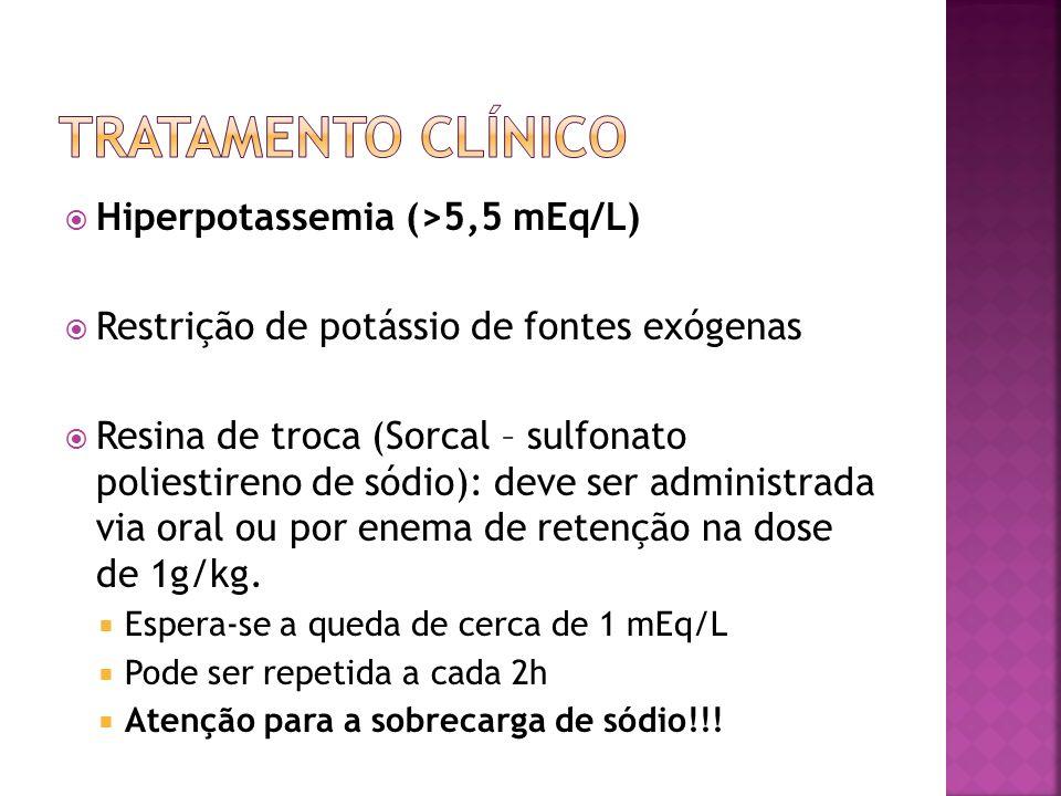 Hiperpotassemia (>5,5 mEq/L) Restrição de potássio de fontes exógenas Resina de troca (Sorcal – sulfonato poliestireno de sódio): deve ser administrad