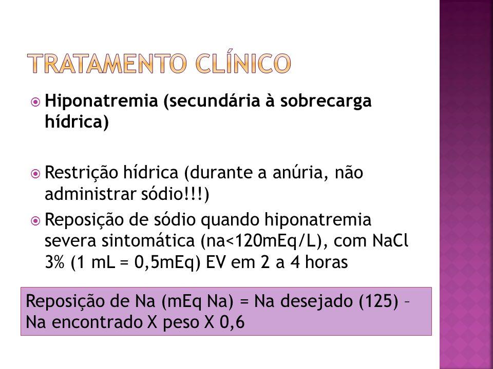 Hiponatremia (secundária à sobrecarga hídrica) Restrição hídrica (durante a anúria, não administrar sódio!!!) Reposição de sódio quando hiponatremia s